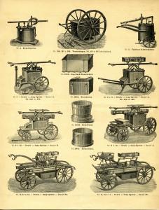 Verschiedene Modelle von Feuerspritzen, um 1900