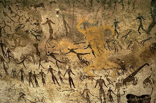 Rock art from the Libyan site, now widely known from the Michael Ondaatje novel 'The English Patient' and its 1996 film adaptation.