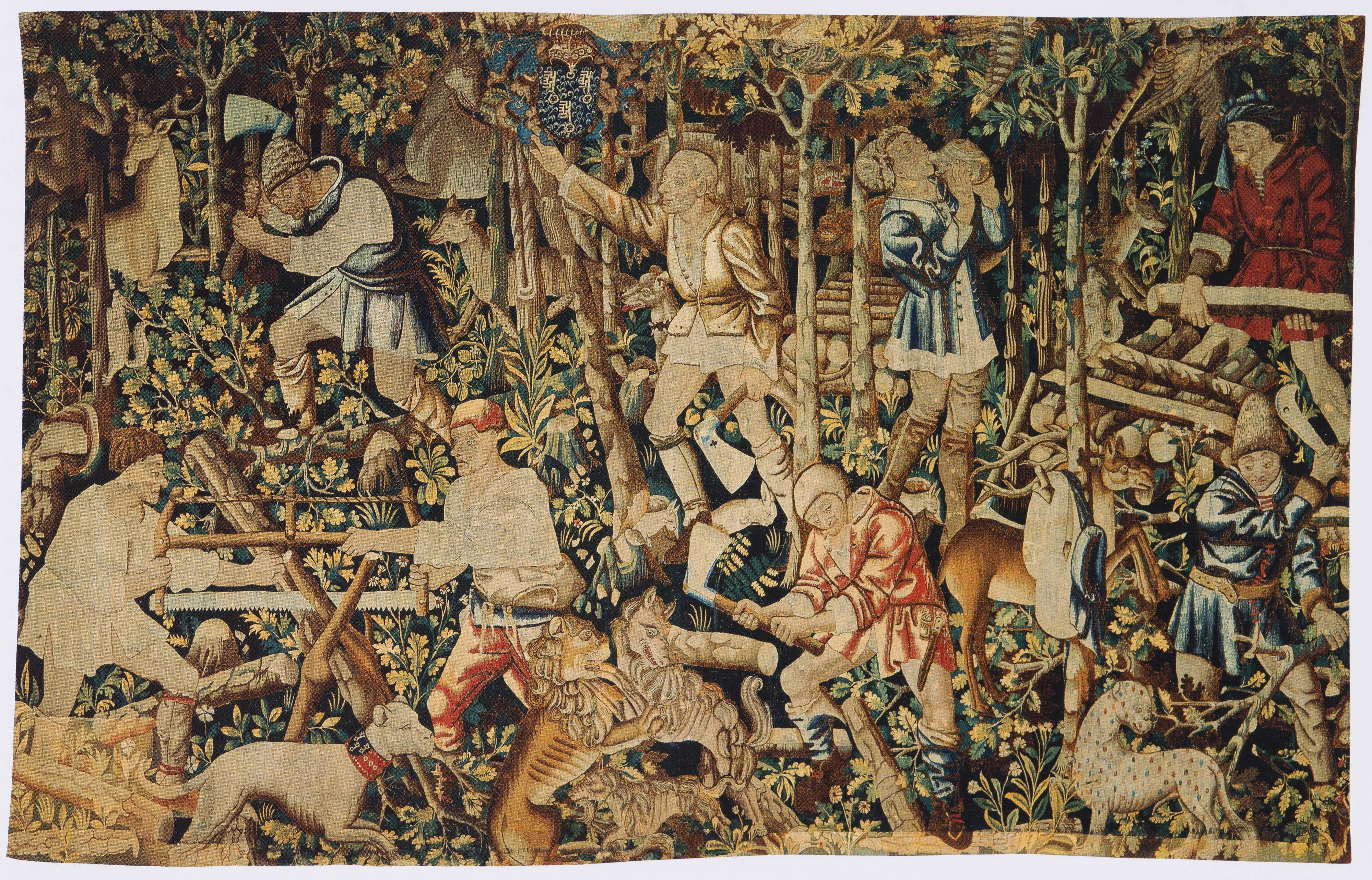 Woodcutters with Arms of Nicolas Rolin, Tapestry (Fragment), Tournai (?), before 1462, Wool and Silk, 315x495 cm, Paris, Musée des Arts Décoratifs