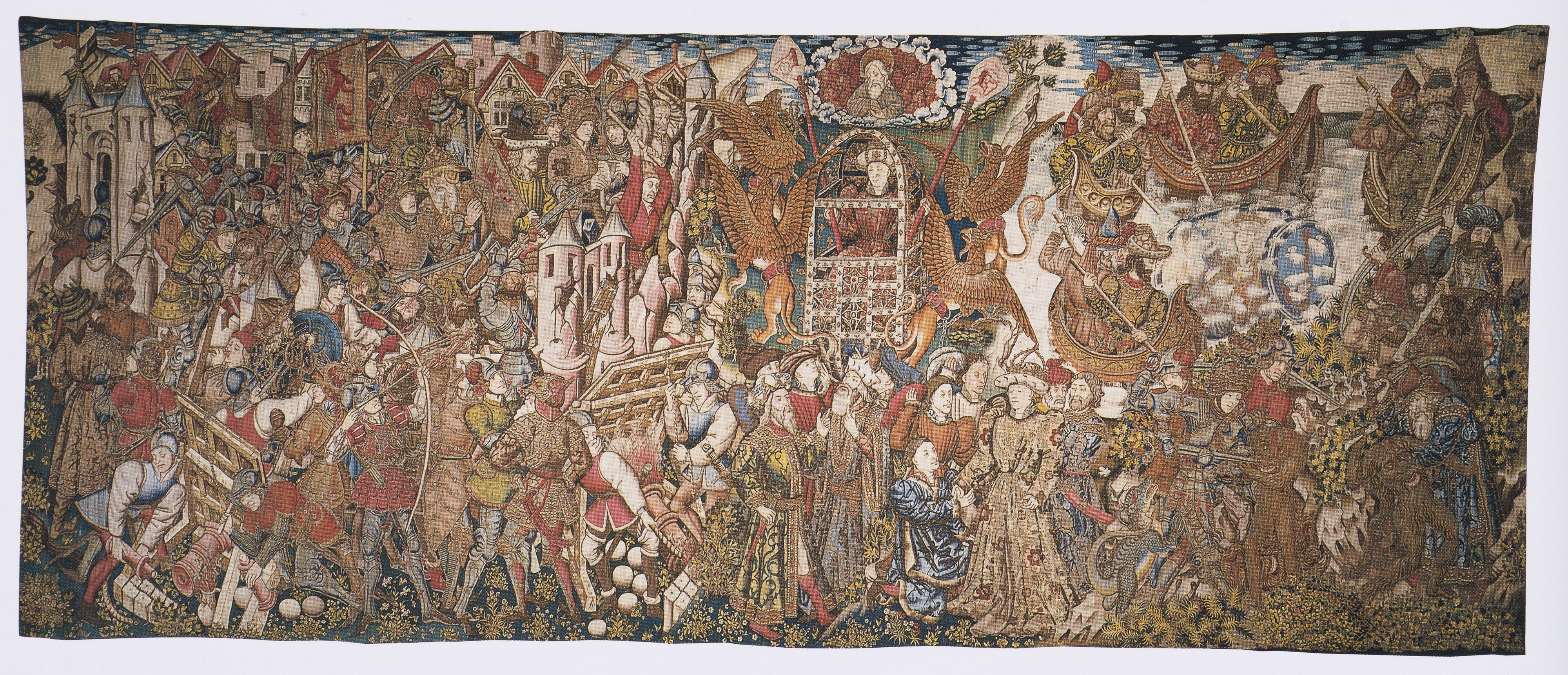 The Military Exploits and Fabulous Deeds of Alexander, Tapestry from the Set Story of Alexander, Tournai (?), ca. 1455-1460, Wool, Silk, Gilt-metal-wrapped Thread, 415x985 cm, Genoa, Palazzo Doria