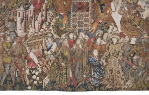 The Military Exploits and Fabulous Deeds of Alexander, Tapestry (Fragment showing the costumes) from the Set Story of Alexander, Tournai (?), ca. 1455-1460, Wool, Silk, Gilt-Metal-wrapped Thread, 415x985 cm, Genoa, Palazzo Doria