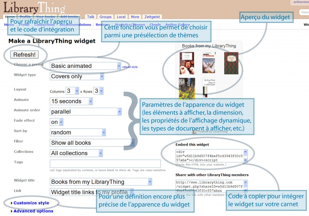 Les paramètres du widget LibraryThing