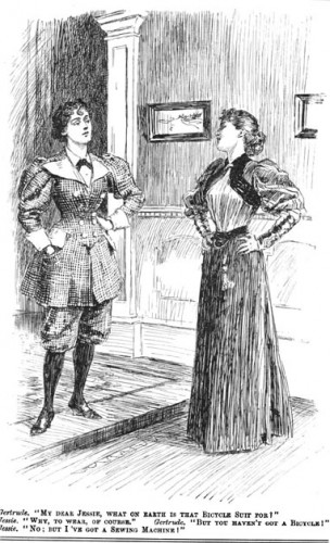 """""""Bicycle suit punch 1895"""" by http://www.victorianweb.org/periodicals/punch/15.html - http://www.victorianweb.org/periodicals/punch/15.html. Licensed under Public domain via Wikimedia Commons."""