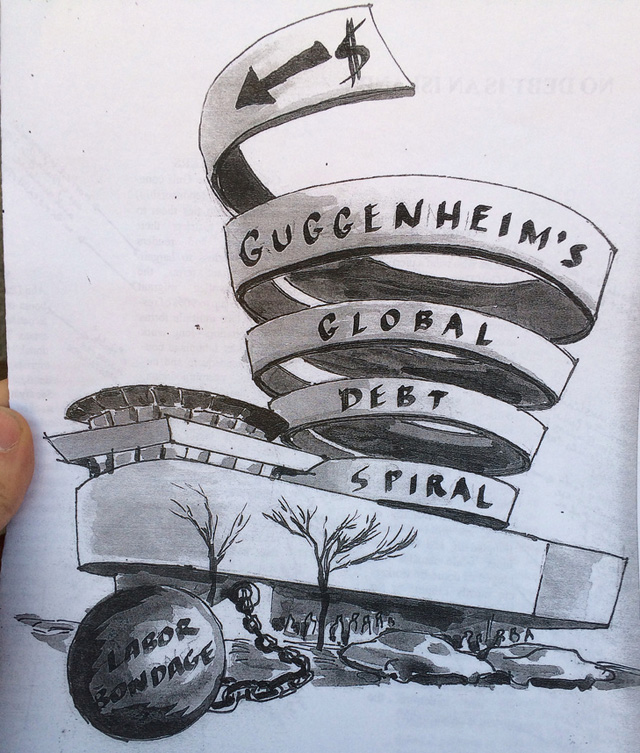 Front cover of an informational brochure distributed during the February 22nd intervention.  Author: Noah Fischer of Occupy Museums.