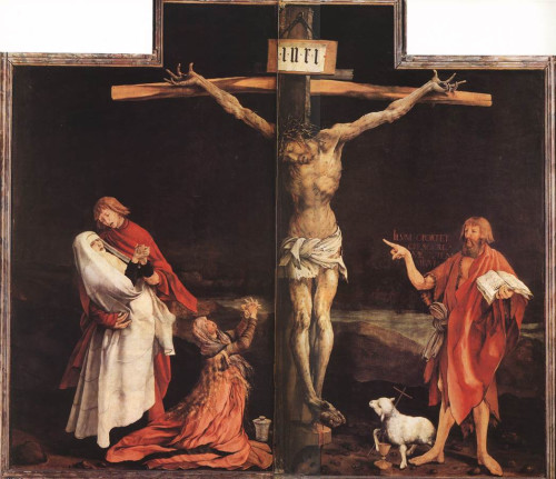 Retábulo de Isemheim: 1.ª abertura: Crucificação Matthias Grunewald C. 1515 Óleo sobre madeira Colmar, Museu de Unterlinden