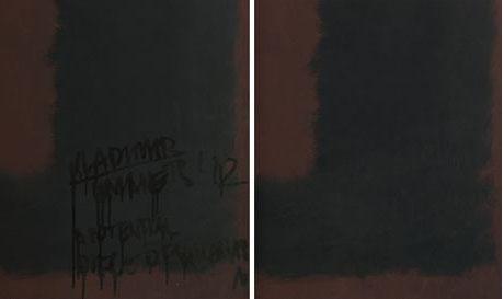 Detalhes da obra de Rothko vandalizada e restaurada.  Foto: Sam Drake/Tate/PA