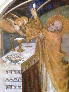 Messe miraculeuse Simone Martini, XIVe siècle Assise, la Basilique de Saint-François