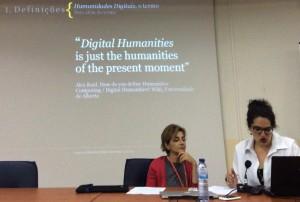 Apresentação de Maria Clara Paixão de Sousa, na mesa com Rita Marquilhas Foto: MIR, 2015.