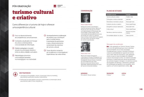 Pós-graduação em Turismo Cultural e Criativo. In Universidade Europeia, IADE, IPAM. (2016). Executive_Education (pp. 60-61). Pedido de brochura através do endereço http://info.europeia.pt/executive-education