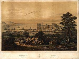 Lisbonne : vue du palais d´Ajuda Louis Lebreton, c. 1850. Paris: chez Bulla Fr.es; Lisboa: Manuel Costenla. Lisboa, Biblioteca Nacional de Portugal