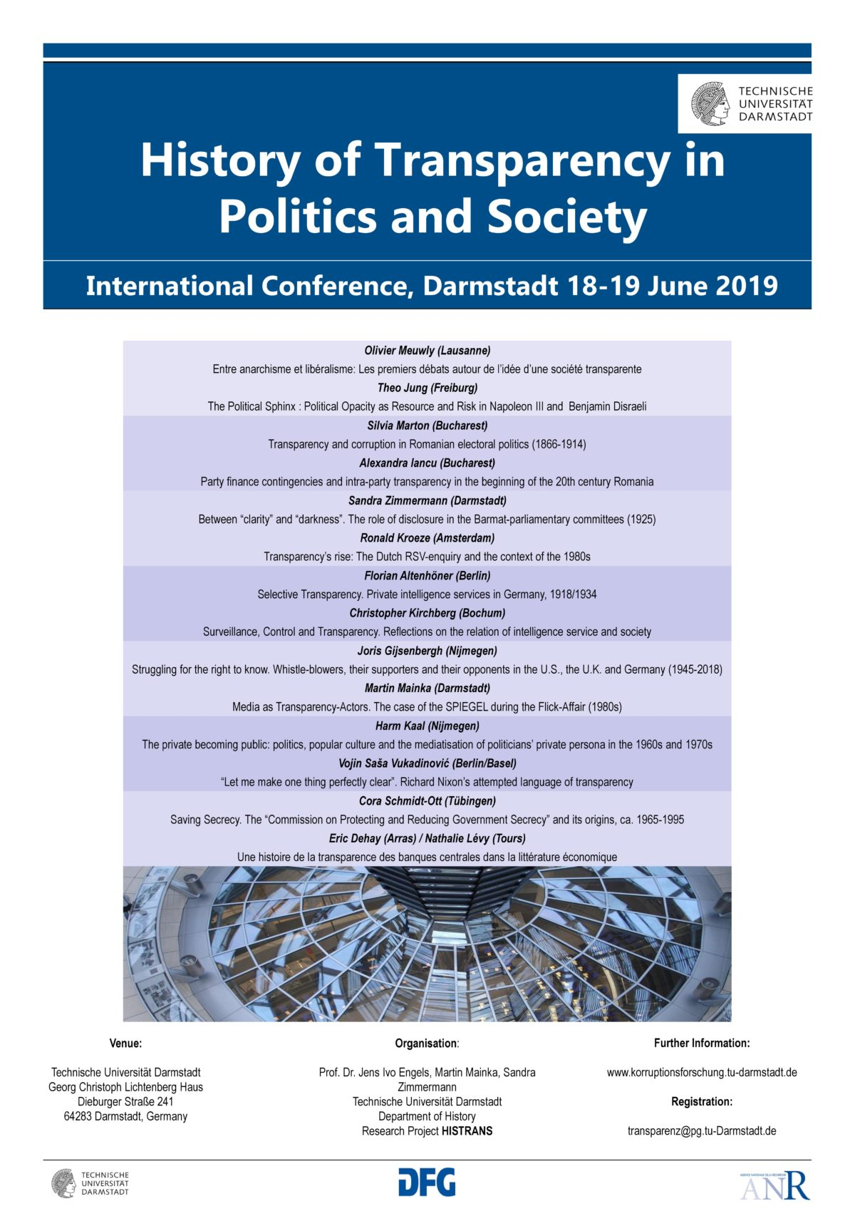 """History of Transparency in Politics and Society"" Internationale Tagung in Darmstadt, 18.-19. Juni 2019"