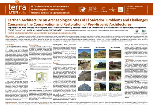 Earthen Architecture on Archaeological Sites of El Salvador: Problems and Challenges Concerning the Conservation and Restoration of Pre-Hispanic Architectures. CAMACHO OSCAR ; ICHIKAWA AKIRA ; SHIBATA SHIONE