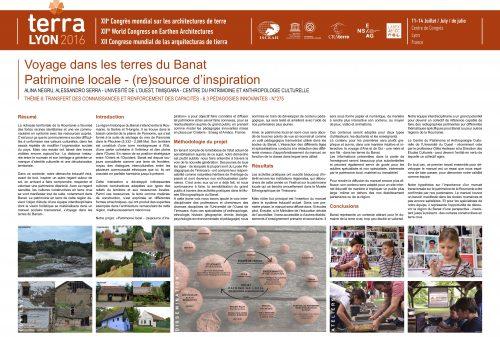 Voyage dans les terres du Banat Patrimoine locale - (re)source d'inspiration. NEGRU Alina, SERRA Alessandro