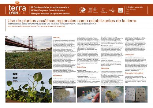 Uso de plantas acuáticas regionales como estabilizantes de la tierra. COSTANZO Roberto, VENTURINI German, GONZALEZ Ariel
