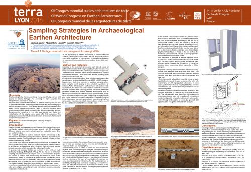 Sampling Strategies in Archaeological Earthen Architecture. ESLAMI Moein, BANNA Abdolrahim, ZAKAVI Soheilan