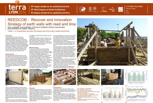 REEDCOB – Recover and innovation. Strategy of earth walls with reed and lime. CARNEIRO PAULO ; JERÓNIMO ALINA ; SILVA VITOR ;  CARTAXO FERNANDO ; FARIA PAULINA