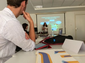 Dina El-Sharnouby presenting her project during the EUME Summer Academy in Rabat Photo: Georges Khalil