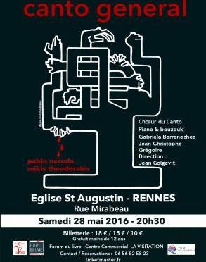 Canto General en concert à Rennes le 28 Mai