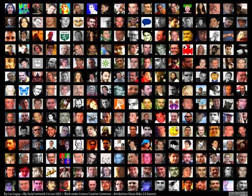 My social Network on Flickr, Facebook, Twitter and MyblogLog, par Luc Legay
