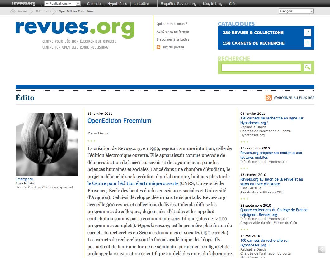 OpenEdition Freemium - Revues.org