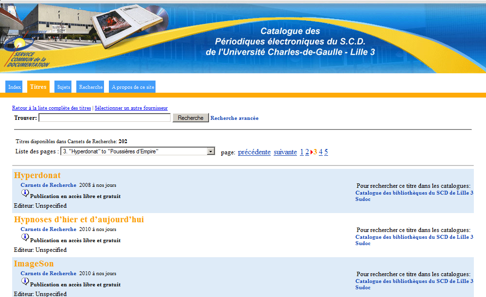 catalogue AtoZ de la la bibliothèque de l'Université Charles-de-Gaule Lille 3