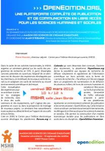 Affiche présentation Open Edition à la MSHA