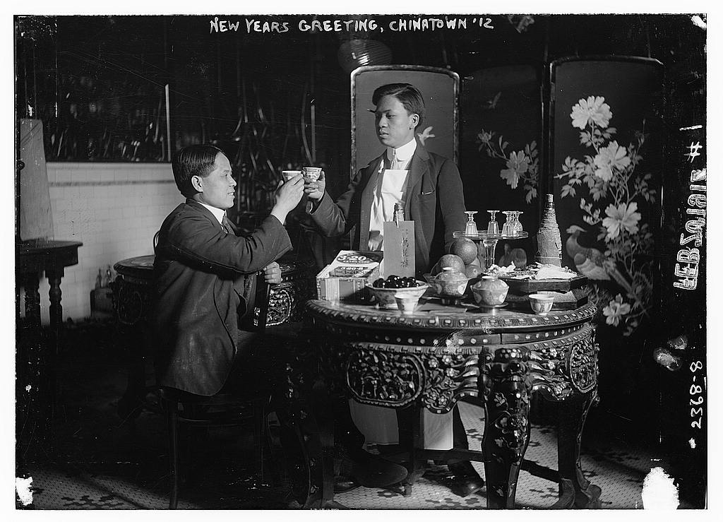 New Years Greeting, Chinatown 1912 (The Library of Congress, Aucune restriction de copyright connue)