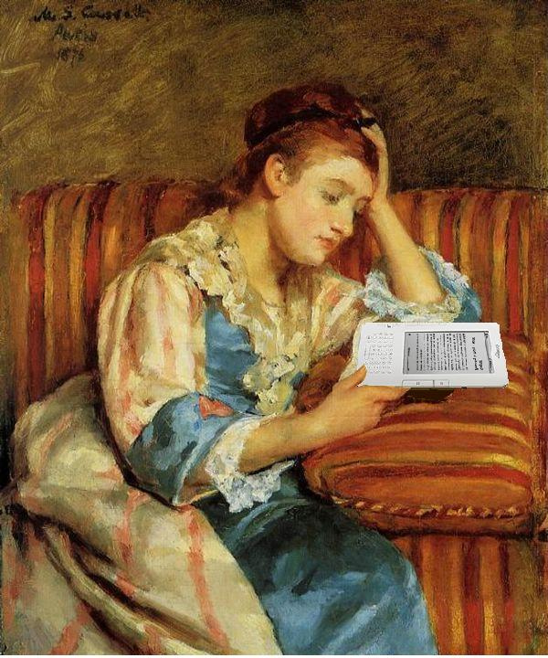 Mrs. Duffee Seated on a Striped Sofa, Reading Her Kindle, After Mary Cassatt, Mike Licht (CC BY 2.0)