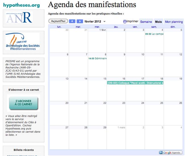 Agenda manifestations