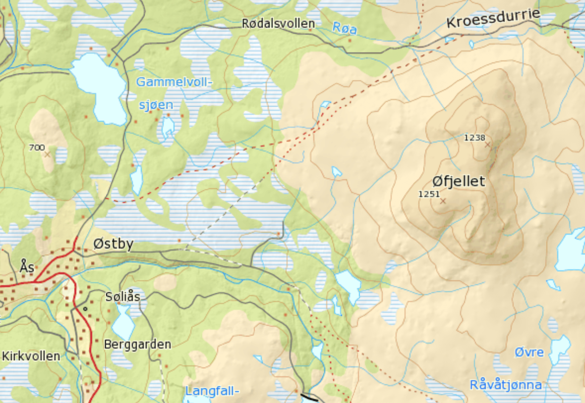 Map showing the places Østby (Østbye) and Øfjellet (Øye mountain).