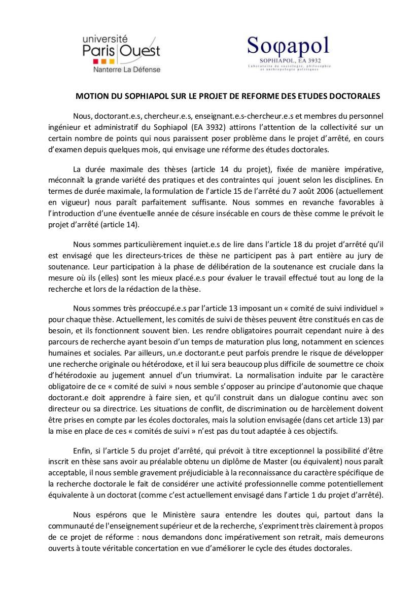 Motion Sophiapol projet réforme doctorat V3 2015 07 08