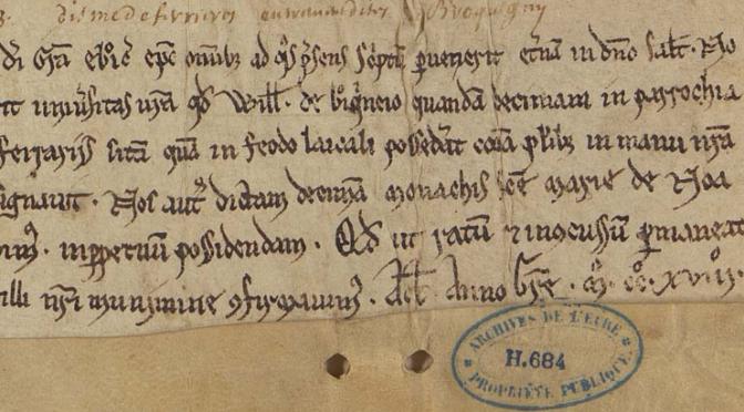 Parution de G. Combalbert (ed), Actes des évêques d'Évreux (XIe siècle-1223)