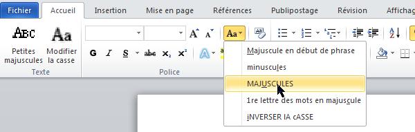 MS.Word, modifier la casse de la sélection