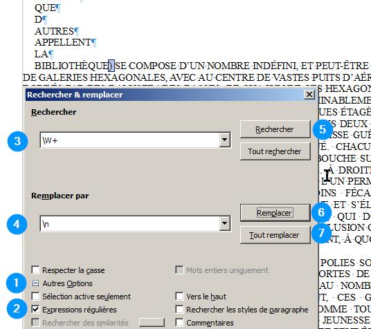 LibreOffice, Rechercher/Remplacer avec expressions régulières