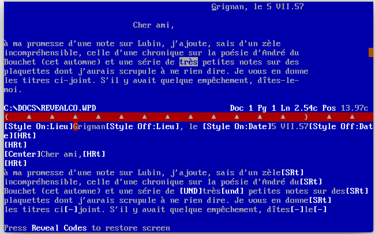 WordPerfect 5.1, Reveal Codes