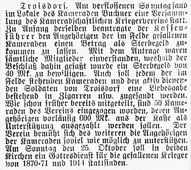 19140930_Versammlung des Kameradschaftlichen Kriegervereins
