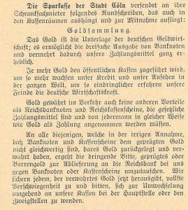 Sparkasse, 1915-09-15_Goldsammlung_SK Cöln