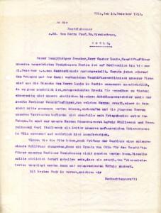 Stollwerck-Brief an die Industrie- und Handelskammer zu Köln