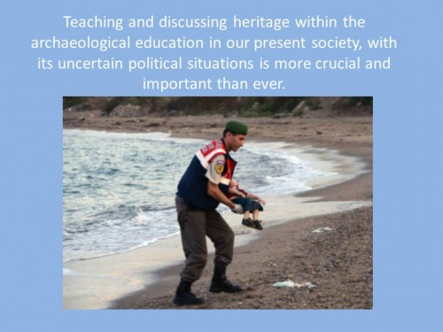 "Slide from Prof. Anita Synnestvedt (University of Gothenburg) presentation on ""We all learn from each other-teaching archaeology for the future"", session Communicating Archaeology 24: Sustainable practices in archaeology."