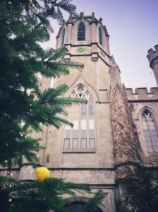 The front of the Quadrangle at NUI Galway with Christmas Tree