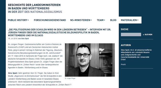 Interview im Projekt-Blog NS-Ministerien-BW. Eine vorbildliche Public History-Initiative der Kollegen in Baden-Württemberg