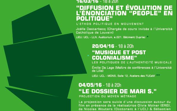 Conférences en Etudes culturelles, Louvain