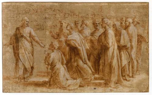 Misión de San Pedro (Serie Hechos de los Apóstoles), Dibujo de Rafael, 1515, 22 x 35 cm, París, Louvre. Fuente: http://artintheblood.typepad.com/art_history_today/2010/09/