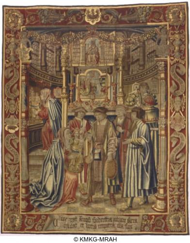 Primer paño de La leyenda de Notre Dame du Sablon. Fuente: http://carmentis.kmkg-mrah.be/eMuseumPlus?service=ExternalInterface&module=collection&objectId=172657&viewType=detailView