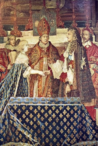Ceremonia de la boda del rey Luis XIV (detalle). Fuente: dominio público vía Wikimedia Commons (https://commons.wikimedia.org/wiki/Category:Wedding_of_Louis_XIV_of_France_and_Maria_Theresa_of_Austria#/media/File:Marriage_of_Louis_XIV_with_Marie-Therese_of_Austria.jpg)