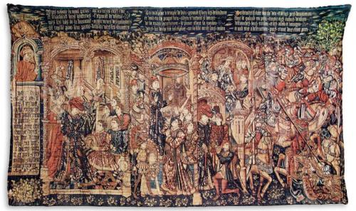 Voto de Jefté, Cartón del círculo de Rogier van der Weyden, 420 x 430 cm., lana y seda y lana, c. 1450-1460, Zaragoza, Museo de tapices de La Seo.