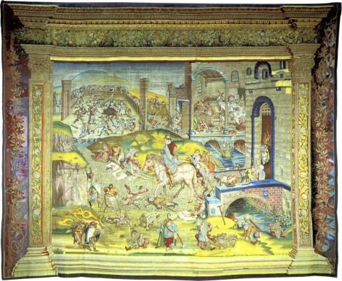 San Martín y los mendigos. Autor anónimo (Bruselas), según El Bosco [Public Domain], vía Wikimedia Commons. https://commons.wikimedia.org/wiki/File%3AAfter_Jheronimus_Bosch_016.jpg