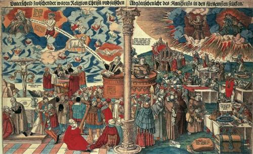 Contraste entre la cristiandad protestante y católica, Lucas Cranach el viejo (1545). Fuente: http://www.wga.hu/html_m/c/cranach/lucas_e/16/63woodcu.html