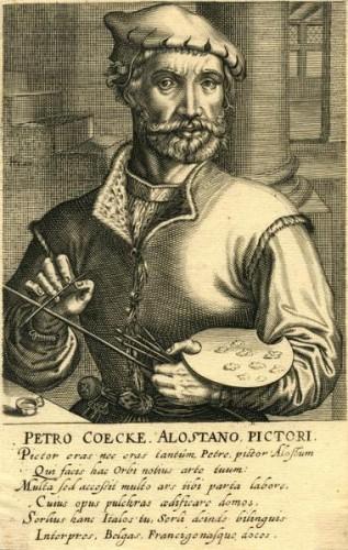 Pieter Coecke van Aelst. Grabado de Hendrik Hondius según Johannes Wierix. Ca. 1610. Fuente: https://es.wikipedia.org/wiki/Pieter_Coecke_van_Aelst#/media/File:Hendrik_Hondius_(I)_003.jpg. Licencia: Dominio Público.