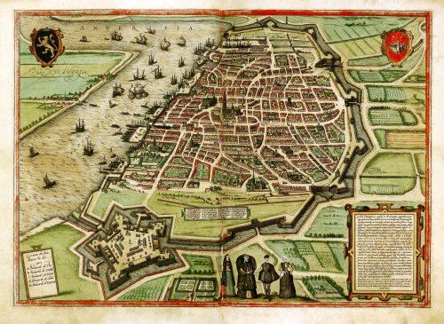 Amberes en el Civitates orbis terrarum, de Braun y Hogenberg, ca. 1572-1579. Fuente: https://commons.wikimedia.org/wiki/File:Antwerp,_Belgium,_Braun_and_Hogenberg,_1572-79.jpg